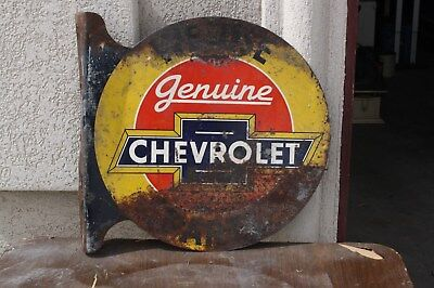 "Vintage Genuine Chevrolet Parts 18 1/2""x17 1/2"" Double Side Flange Enamel Sign"
