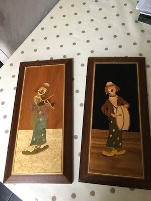 Cuomos Lucky Store Inlaid Wood Clown Plaques Pictures X 2 Italian Hand Made