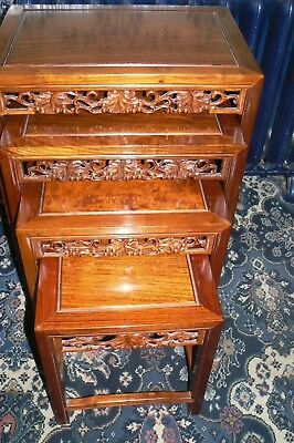 Chinese Nest Of 4 Carved Tables In Pedouk Wood Mid-20Th Century