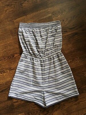 New Look 915 Girls All In One Short Playsuit: Age 14 - Blue/White Stripe - VGC