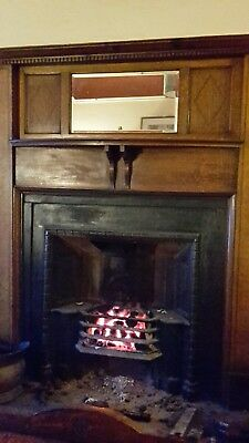 wooden oak inlaid bevelled mirror fire surround - can deliver near Newcastle