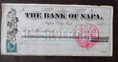 1883 Napa City California Bank Check & Revenue Stamp Payable in US Silver Coin