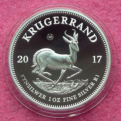 2017 SILVER PROOF KRUGERRAND 50th ANNIVERSARY 1oz  COIN BOX AND COA