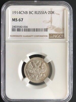 Russia 20 Kopeks, 1914, NGC GRADED MS-67, BLAZER SILVER COIN fully luster coin