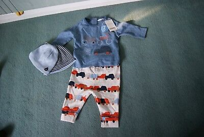 New Next baby boy bundle tops/trousers/hats blue 0-3mths 4 items
