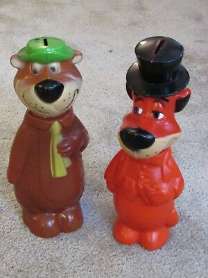 Hanna Barbera Vintage Soaky Type Banks Yogi Bear & Huckleberry Hound