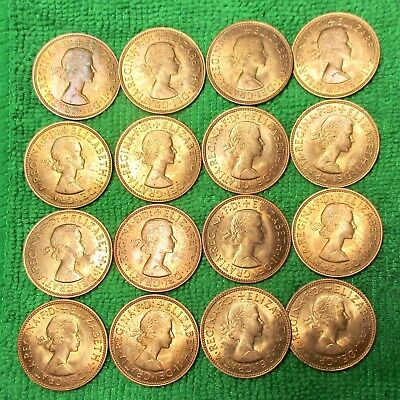 Great Britain 1/2 Penny, 1966 BU Uncirculated - RED - Lot of 16 coins