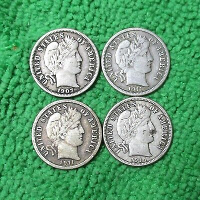1907 1911 1911-D 1914 10C Barber Dime LOT OF 4 Coins - .99 No Reserve - Combined