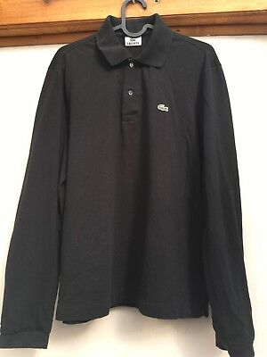 Mens Vintage Lacoste Black Long Sleeved Polo Shirt. Size Medium (5)