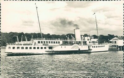 Postcard Shipping Paddle Steamer The Maid Of The Loch At Balloch Loch Lomond RP