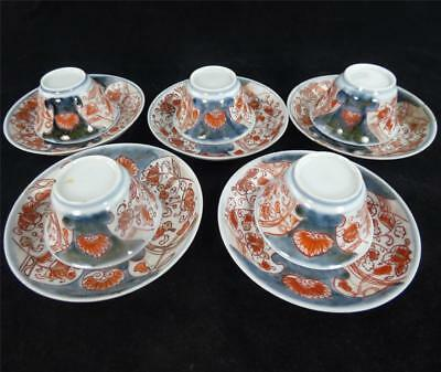 Five Antique Japanese 18Th Century Edo Period Teabowls & Saucers