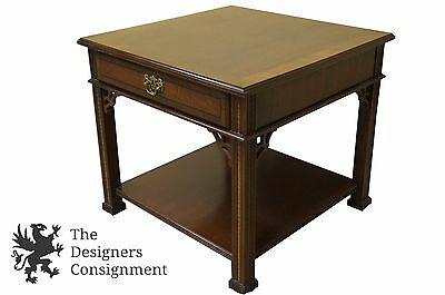Vtg Stanley Stoneleigh Chippendale Style Inlaid Mahogany Accent Table  Nightstand