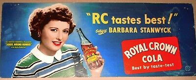 Vintage RC Cola (Royal Crown Cola) sign with Barbara Stanwyck (Movie Star)