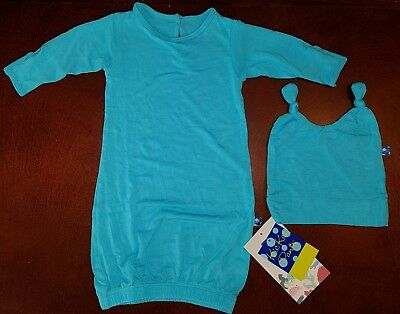 KicKee Pants Confetti Infant Boy Gown & Double Knot Hat New 0-3 Months READ