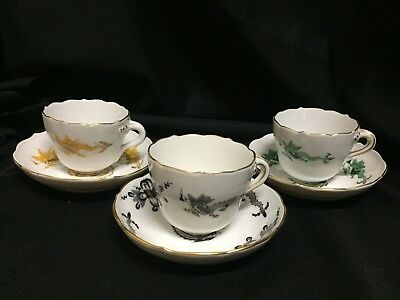 3 sets Meissen Demitasse Dragon Cups and Saucers