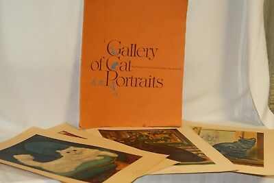 "Vintage 1965 Gallery of Cat Portraits 9 Paintings by Girard Goodenow 19"" x 15"""
