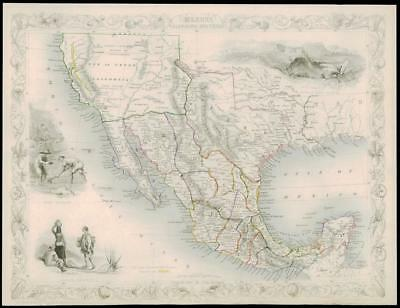 """1850 Illustrated Antique Map """"MEXICO CALIFORNIA & TEXAS"""" by TALLIS  (142d)"""