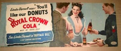 "Vintage RC Cola (Royal Crown Cola) sign with Linda Darnell in ""Buffalo Bill"""