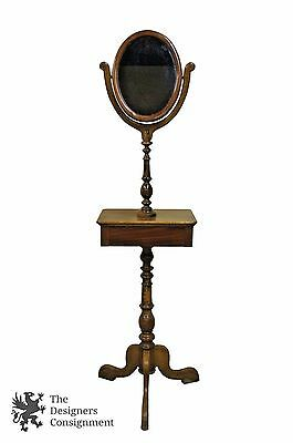 Early American 19th C. Walnut Gentlemans Shaving Stand Telescopic Mirror Drawer