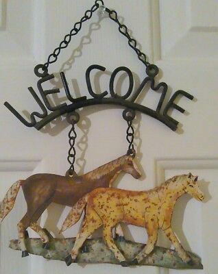Tin horses welcome sign decorative rustic