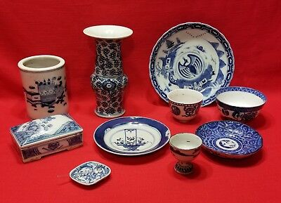 Vintage Chinese Blue & White Porcelain Pottery Mixed Lot