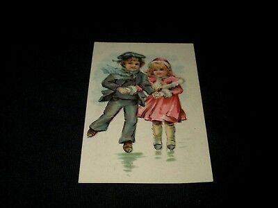 Lion Coffee-Little Boy & Girl Ice Skating-Picture Card 12--Victorian Trade Card