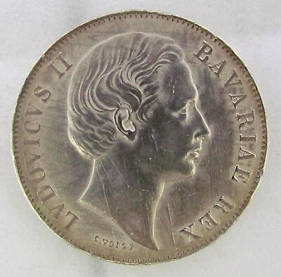 1868 German King Ludwig Ii Of Bavaria Silver Thaler