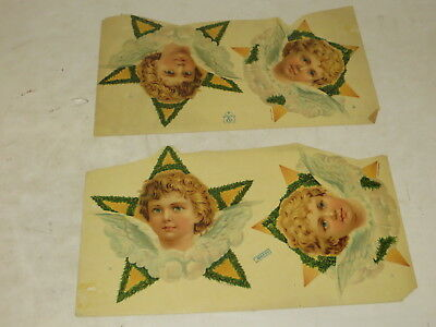 % Lot Of 4 Victorian Paper Scrap Child Star Angel Wings %