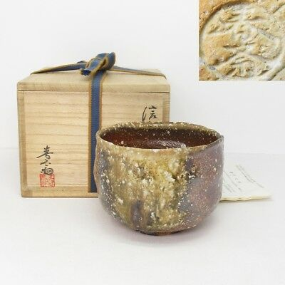 H951: Japanese tea bowl of SHIGARAKI pottery of great glaze by Shunsai Takahashi