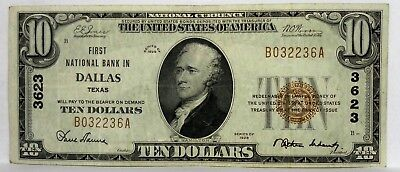 1929 $10 Dollar First National Bank In Dallas Texas Charter # 3623