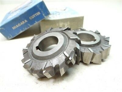 """Pair Of Hss Staggered Tooth Milling Cutters 5/8"""" & 13/16"""" W/1"""" Bores Niagara"""