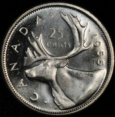 1955 Canada 25 Cents Flashy Prooflike Uncirculated