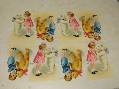 % Lot Of 8 Victorian Embossed Die Cut Paper Scrap Child And Teddy Bear %
