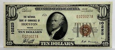 1929 $ 10 Dollar The National Bank Of Commerce Of Houston Texas Charter# 10225