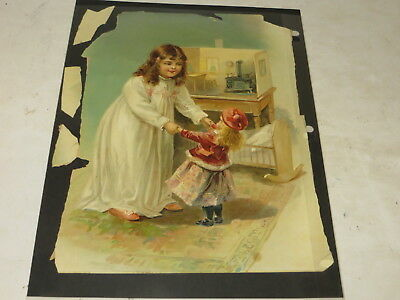 %  Antique  Victorian Paper Scrap Female Child Playing With Doll %