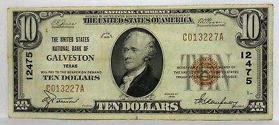 1929 $10 Dollar The United States National Bank Of Galveston Texas Ch. # 12475