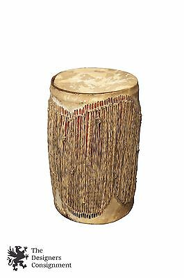 Modern African Folk Art Drum with Strap Hide Leather Branded Canister Recycled