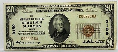 1929 $20 Dollar SHERMAN TEXAS The Merchants And Planters National Bank Ch# 3159