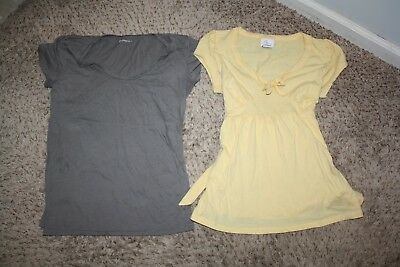 Lot of 2 Small Maternity Shirts Tops Short Sleeve Tee Oh Baby & Gap Gray Yellow