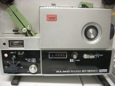 Elmo St 1200 D Super 8 Sound Projector; Working Order W Manual And Reel