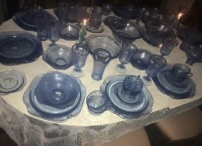 Vintage Blue Depression Glass Federal/Indiana Madrid 72- Piece Dinnerware Set