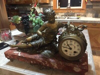 ANTIQUE LATE 1800'S FRENCH FIGURAL MANTEL CLOCK By Italian artist Ruffony