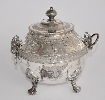 Antique Victorian PHILIP ASHBERRY Silver Plate Tea Caddy-Etched, Ram Head Handle