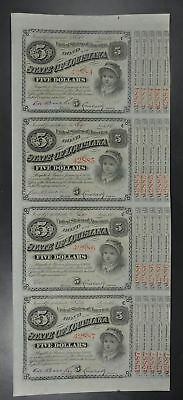 1879 (1886) Louisiana $5 Baby Bonds Sheet Of (4) Not Canceled