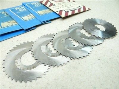 "New! Lot Of 5 Hss Slitting Saws 1/32"" & 1/16"" Widths 7/8"" Bores Niagara Union"