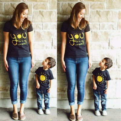 USA Family Outfits Clothes Mother Daughter Kids Matching T-shirt Womens Son Tops
