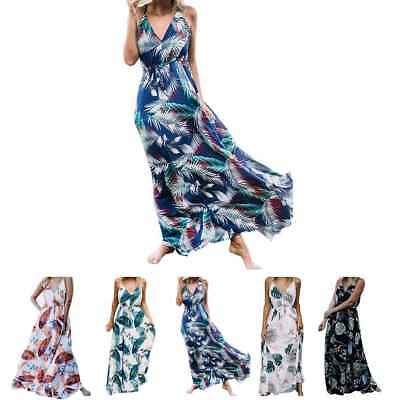Womens Maxi Boho Floral Summer Beach Long Skirt Evening Cocktail Party Dress