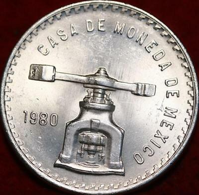 Uncirculated 1980 Mexico 1 Onza .999 Silver Foreign Coin
