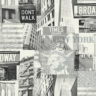 Carta da parati Arthouse Broadway,, Black/White, 53 cm x 10.05 m (r0R)