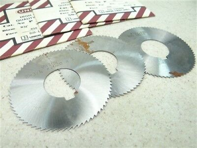 "New Lot Of 3 Union Hss Slitting Slotting Saws .020"", .028"" & .036"" Widths"